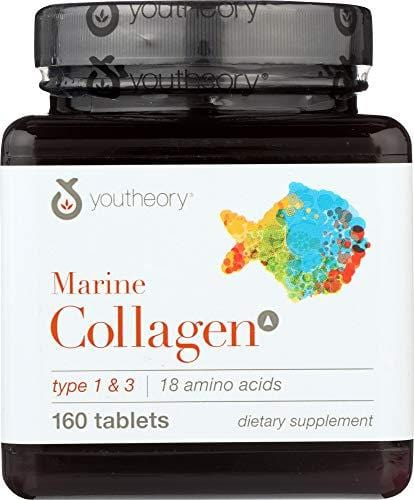 Youtheory (1 Item ONLY) Marine Collagen Advanced Formula Type 1 & 3, 160 Tablets
