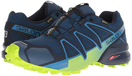 Salomon Men's Speedcross 4 GTX Trail Running Shoe, Poseidon/Navy Blazer/Lime Green, 10.5 D US