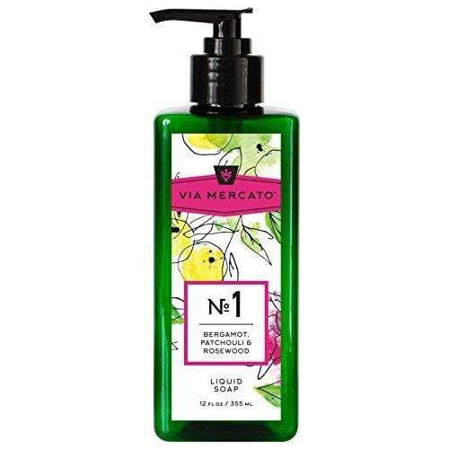 Via Mercato Liquid Soap, Shea Butter Enriched (12 oz) - No. 1 - Bergamot, Patchouli and Rosewood