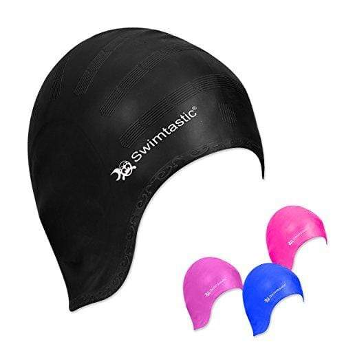 Swimtastic® Long Hair Swim Cap with Ergonomic Ear Pockets - Specially Designed for Swimmers with Long, Thick, or Curly Hair (Black) Swim Cap Swimtastic®