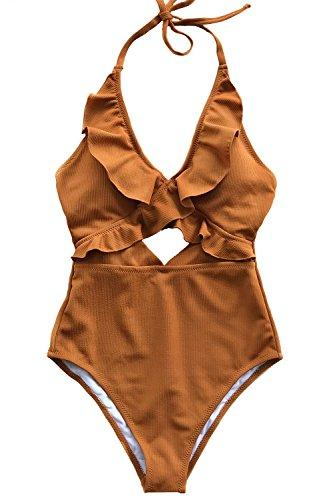 CUPSHE Women's Stay with You Falbala Halter Padding One-Piece Swimsuit Large