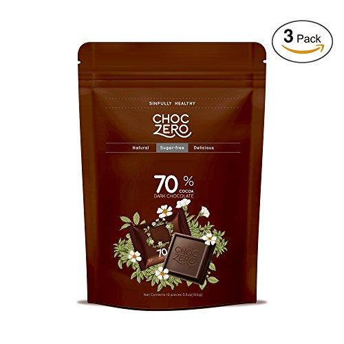 70% Dark Chocolate, Sugar free, Low Carb (3 Bags, 30 pieces) Food & Drink ChocZero