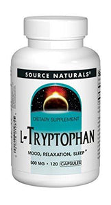 Source Naturals L-Tryptophan, 1500 mg Serving, Essential Amino Acid Supplement Helps Combat Stress, Encourage Positive Mood & Relaxation and Promotes Drowsiness, Rest and Sleep - 120 Capsules