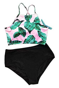 CUPSHE Women's Leaves Printing High Waisted Bikini Set Tankini Swimwear, Green, Medium