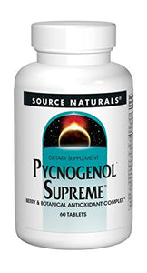 Source Naturals Pycnogenol Supreme 50mg Berry and Botanical Antioxidant Complex for a Broad Range of Free Radical Protection Packed with 500mg Added Vitamin C - 60 Tablets