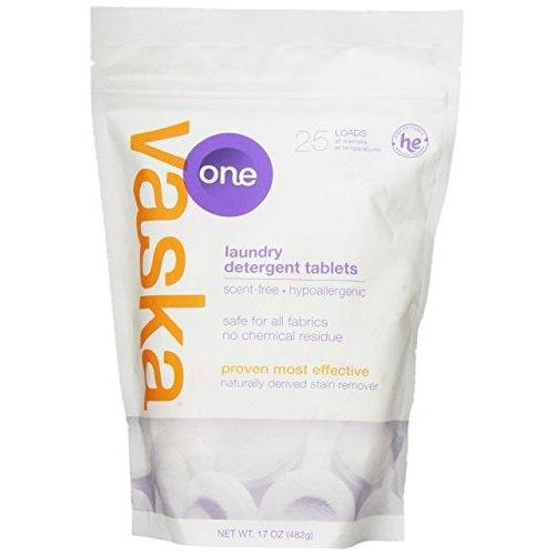 Vaska One Laundry Detergent Tablet, Scent Free, 25 Count