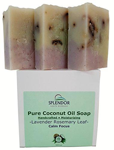 Lavender Rosemary Leaf (10.5 oz) - Pure Coconut Oil Soap for Calm Focus. Handmade, Moisturizing, Natural, Vegan With Essential Oils, Organic Spirulina, Alkanet Root and Garden Rosemary Leaf