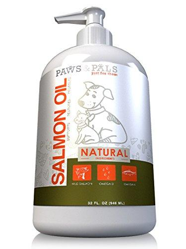 32oz Pure Wild-Alaskan Salmon Oil for Pets Omega 3 All Natural Fish Oil Liquid Food Supplement for Dogs & Cats –EPA & DHA Fatty Acids Supports Healthy Heart Restores Skin Protects Coat