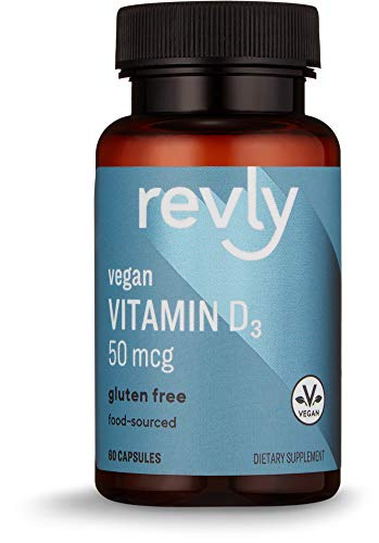 Amazon Brand - Revly Food-Sourced Vitamin D3, 50 mcg (2000 IU), Vegan, 60 Capsules, 2 Month Supply