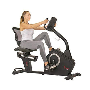 Sunny Health & Fitness Magnetic Recumbent Exercise Bike with Large Soft Comfort Seat with Mesh Back, 12 Preset or Custom Workouts and Advanced Performance Monitor - SF-RB4850