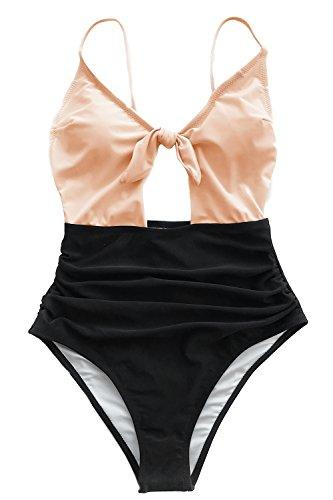 CUPSHE Women's Sweet Honey Bowknot One-Piece Swimsuit Beach Swimwear Bathing Suit (L)