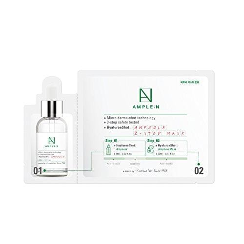 [AMPLE:N] Hyaluron Shot Ampoule 2 Step Mask Pack of 10 - Moisturizing Hyaluronic Acid Ampoule & Mask Sheet
