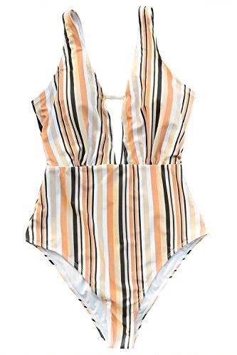 CUPSHE Women's Make Unique Stripe One-Piece Swimsuit Beach Swimwear Bathing Suit (S)