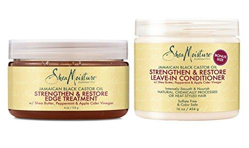 Shea Moisture Jamaican Black Castor Oil Combination Pack – Strengthen & Restore - Leave-In Conditioner, 16 Oz, Edge Treatment, 4 Oz