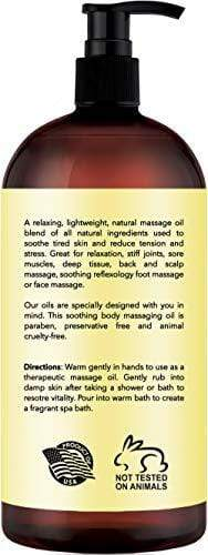 Ylang Ylang & Ginger Massage Oil – 100% All Natural Ingredients – Ylang Ylang & Ginger Sensual Body Oil Made with Essential Oils - Great For Muscle Relaxation, Stiff Joints & Deep Tissue