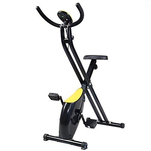 Folding Exercise Bike Home Trainer Fitness Cycling Magnetic Stationary Machine Speed Easy Storage ABS Sport & Recreation Goplus