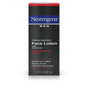 Neutrogena Triple Protect Men's Daily Face Lotion with Broad Spectrum SPF 20 Sunscreen, Moisturizer to Fight Aging Signs, Soothe Razor Irritation & Relieve Dry Skin, 1.7 fl. oz ( Pack of 2)