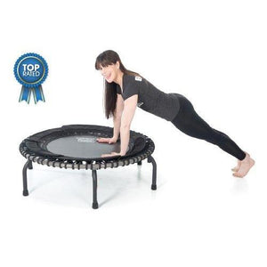 JumpSport 570 PRO | Fitness Trampoline | Professionals Choice | Extra Large Surface for More Freedom | No-Tip Arched Legs | Top Rated for Quality, Safety & Durability | 4 Music Workout Vids Incl.