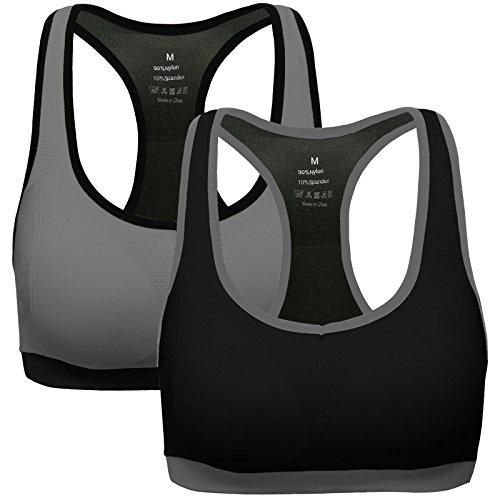 MIRITY Women Racerback Sports Bras - Medium Impact Workout Gym Activewear Bra Color Black Grey Size L Activewear MIRITY