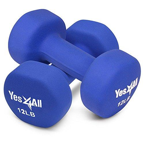 12 lbs Dumbbells Neoprene with Non Slip Grip – Great for Total Body Workout – Total Weight: 24 lbs (Set of 2) Sport & Recreation Yes4All