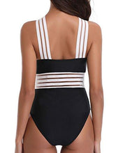 Holipick Women 1 Piece Sexy See Through Mesh Front Criss Cross Color Block Padded Monokini Swimsuit Black M
