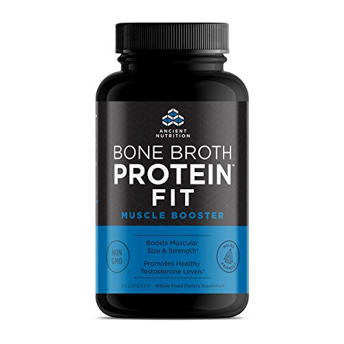 Ancient Nutrition Bone Broth Protein Fit Muscle Booster, 180 Capsules — Boosts Muscle Size and Strength