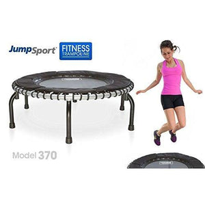 JumpSport Fitness Trampoline Model 370 — Top Rated for Quality and Durability — Quietest Most Stable Bounce — No-Tip Arched Legs— 4 Music Workout Videos Included
