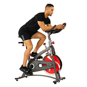 Sunny Health & Fitness Spin Bike Belt Drive Indoor Cycling Bike with LCD Monitor, 40 lb Chrome Flywheel, 265 lb Max Weight - SF-B1423, Gray