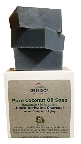 Black Activated Charcoal Soap (USA) - Acne, Odor, Anti-aging. Pure Coconut Oil Soap, Handmade, Vegan, Moisturizing, Natural, Unscented