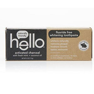 Hello Oral Care Activated Charcoal Fluoride Free Whitening Toothpaste, 4 Ounce