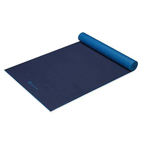 Premium Solid Longer/Wider Yoga Mat, Navy/Blue, 5mm