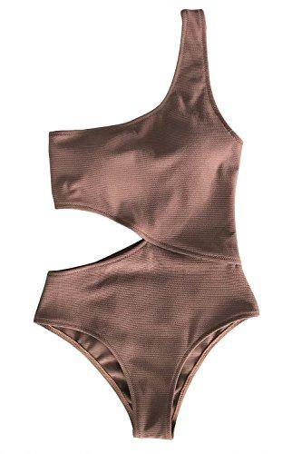 CUPSHE Women's Candy Rain One Shoulder One-Piece Swimsuit Bathing Suit (Medium (USA 8/10), Coffee)