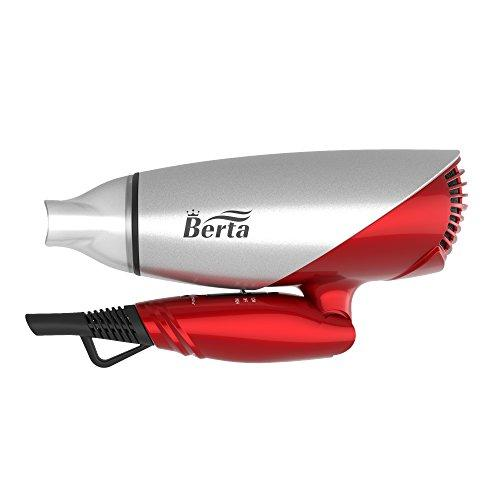 BERTA 1875 Watts Folding Handle Hair Dryer Tourmaline Ceramic Negative Ionic Blow Dryer US Plug