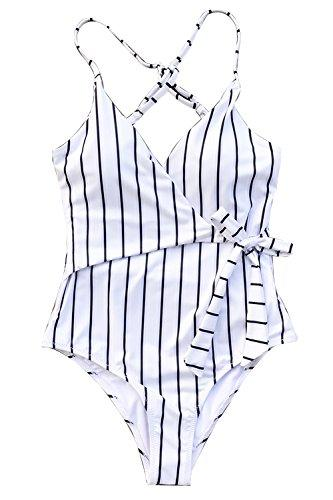 CUPSHE Women's Stay Young Stripe One-Piece Swimsuit Beach Swimwear Bathing Suit (M)