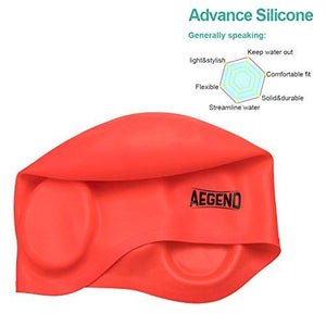Aegend Adult Silicone Solid Swim Cap Blue Swimming Cap for Long Hair with 3D Ergonomic Design Ear Pockets Great Elasticity and No Deformation for Adult Woman Men, Keeps Hair Clean Ear Dry