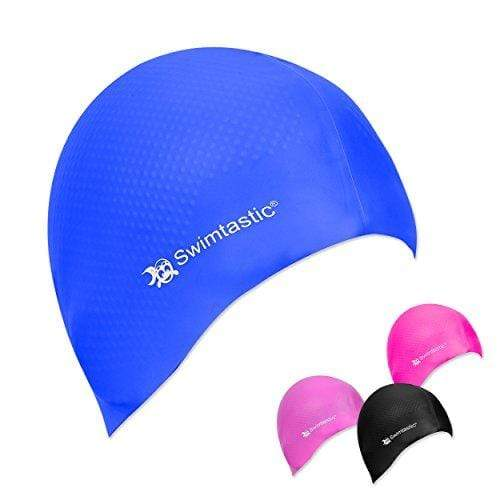 Swimtastic® Silicone Swim Cap with Textured Anti-Slip Interior - Designed to Keep Your Swim Cap Comfortably In Place (Blue) Swim Cap Swimtastic®