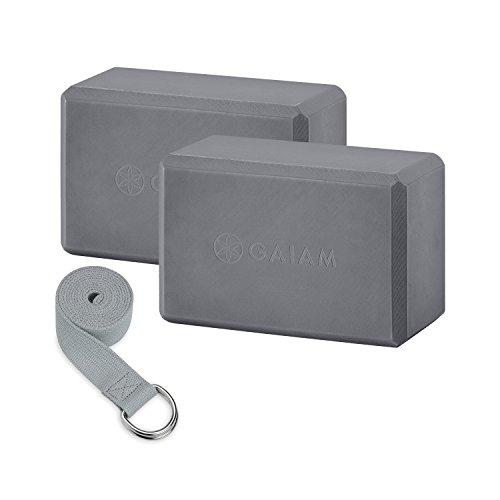 Yoga Block 2 Pack & Strap Set, Grey Accessory Gaiam