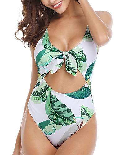 Holipick Women 1 Piece Sexy Keyhole Monokini Stripes Backless Top with Palm Tree Printed Bottoms Bathing Suits