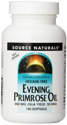 Source Naturals Evening Primrose Oil 500mg (50mg GLA) Essential High Potency Cold-Pressed Hexane-Free Source of Fatty-Acids Gamma-linolenic (GLA) and Linoleic Acid - Helps Maintain Smooth, Healthy-Looking Skin - Supports Hormonal Balance - 180 Softgels