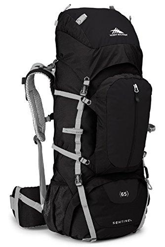 High Sierra Sentinel 65L Top LoadBackpack Pack, High-Performance Pack for Backpacking, Hiking, Camping, with Rain Fly, Black/Black/Silver