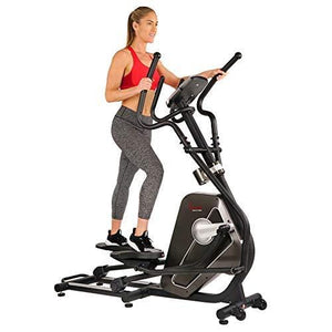 Sunny Health & Fitness Magnetic Elliptical Trainer Machine w/Tablet Holder, LCD Monitor, 265 LB Max Weight and Pulse Monitoring - Circuit Zone, Black (SF-E3862)