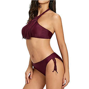 Holipick Women's Fringe Tassel Halter Top Low Rise Bottom Bikini Set Bathing Suits M Wine Red