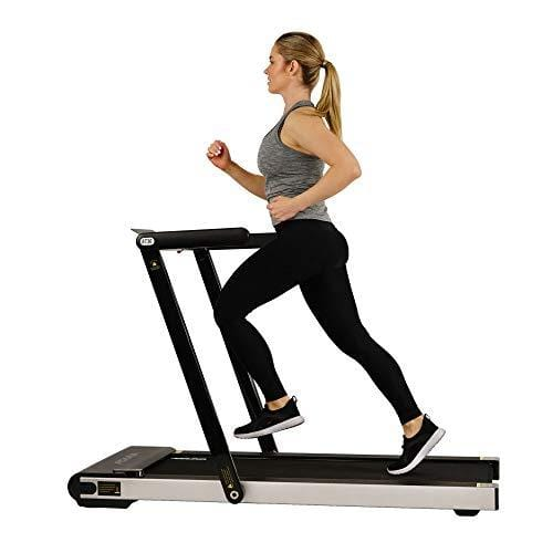 Sunny Health & Fitness ASUNA Space Saving Treadmill, Motorized with Low Profile, Speakers & Slim Folding - 8730,Black