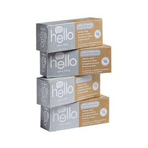 Hello Oral Care Extra Whitening Fluoride Toothpaste, Peroxide-Free, No Artificial Sweeteners, Pure Mint, 4 Count