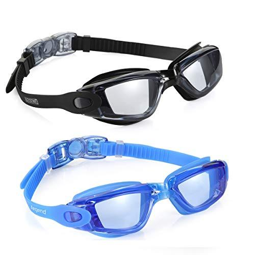 Aegend Swim Goggles, Pack of 2 Swimming Goggles No Leaking Anti Fog UV Protection Crystal Clear Vision Triathlon Swim Goggles with Free Protection Case for Adult Men Women Youth Kids Child, 6 Choices Swim Goggles Aegend