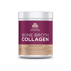 Ancient Nutrition Bone Broth Collagen Powder 30 Servings of All-Natural Protein Powder Loaded with Bone Broth Co-Factors (Chocolate, 30 Servings)