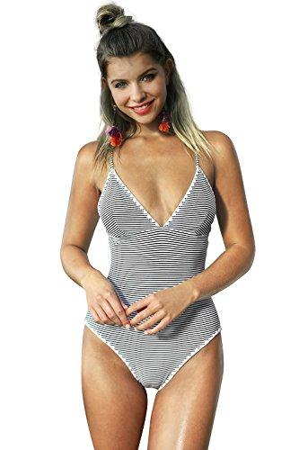 CUPSHE Women's Simple Living Stripe One-Piece Swimsuit Bathing Suit Medium