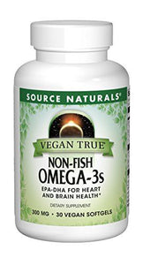Source Naturals Vegan True Non-Fish Omega-3s EPA-DHA for Heart and Brain Health, (30 Capsules)