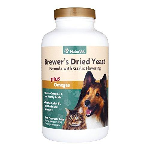 NaturVet Brewer's Dried Yeast Formula with Garlic Flavoring Plus Omegas for Dogs and Cats, 1000 ct Chewable Tablets, Made in USA Animal Wellness NaturVet