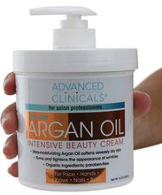 Advanced Clinicals Spa Size Pure Argan Oil Intensive Beauty Cream. Anti-aging Cream for Wrinkles and Dry Skin. 16oz Jar with a Pump.